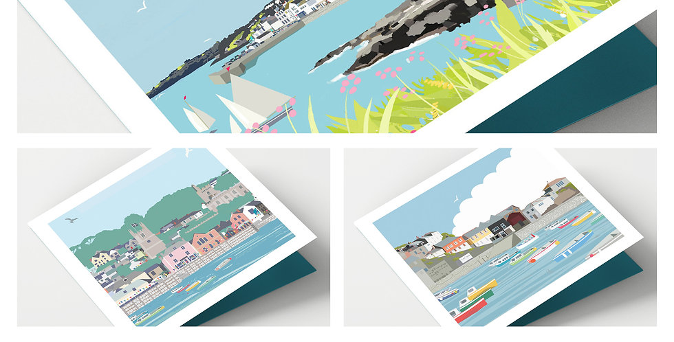 Set Of Eight Cornwall Cards