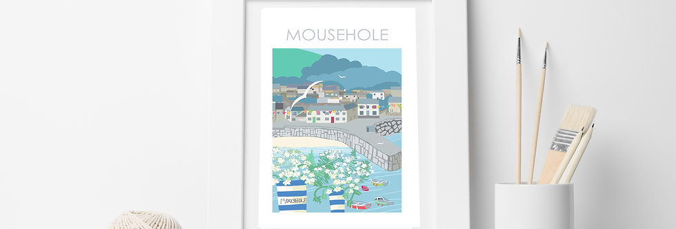 MOUSEHOLE HARBOUR CORNWALL PRINT
