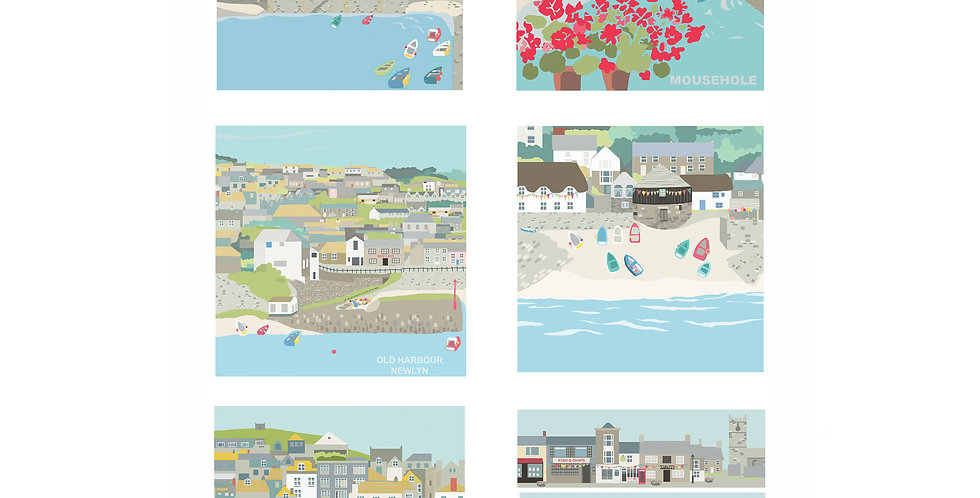 Pack of 6 small West Cornwall greeting cards