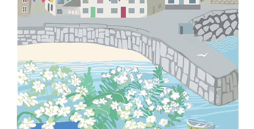 MOUSEHOLE AND FLOWERS CORNWALL CARD