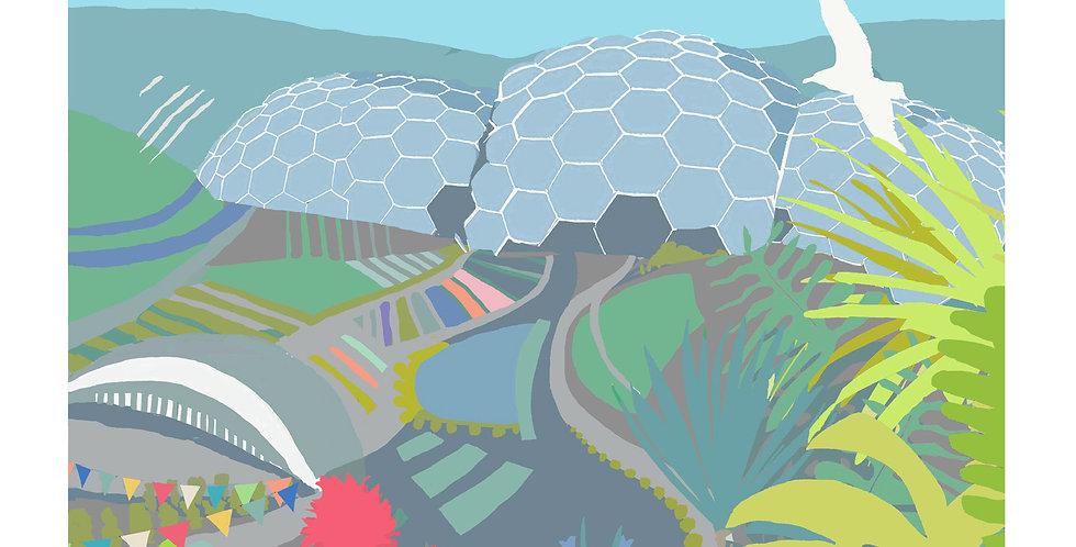 EDEN PROJECT SUMMER CORNWALLL Greeting Card 1 or pack of 4