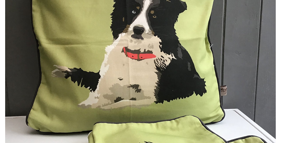 Collie Cushion Made in the UK on a Cotton Panama