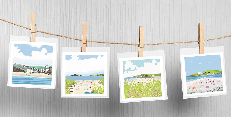 Set of 4  Devon Beaches  Cards