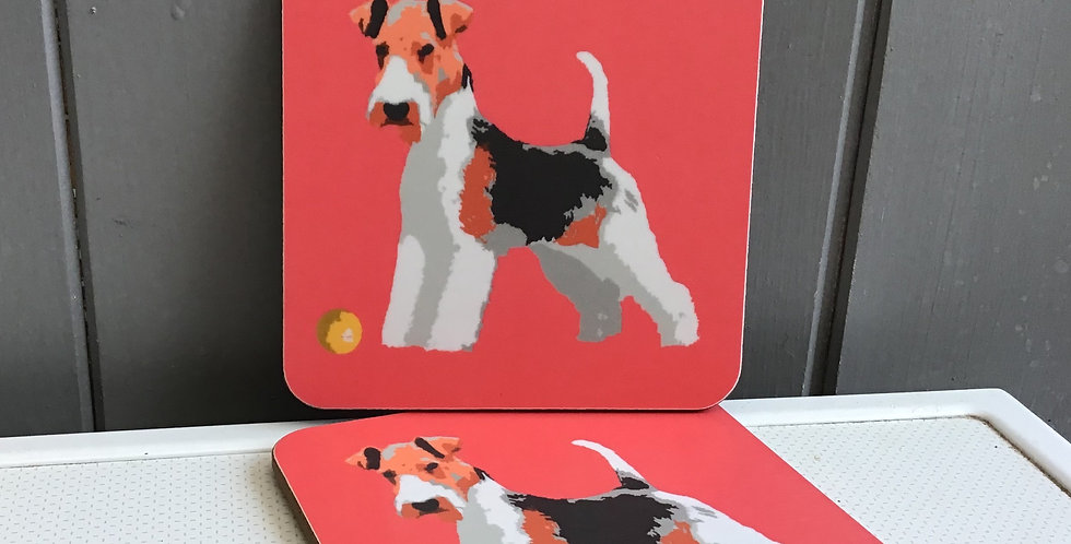FOX TERRIER SET OF 2  COASTERS