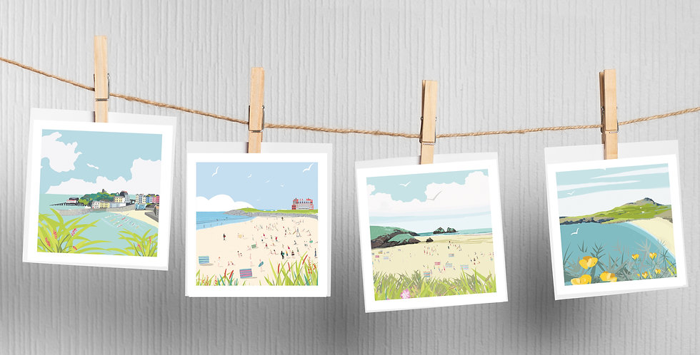 Great Britain Beaches Greeting Cards pack of 4 Whitesands Bay St Davids  . Holyw