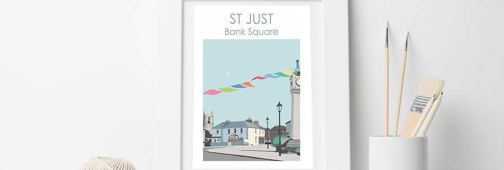 ST JUST CLOCK TOWER PRINT