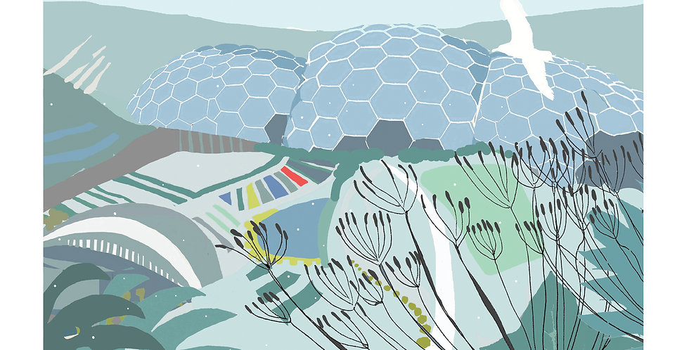 EDEN PROJECT WINTER CORNWALL Greeting Card 1 or pack of 4