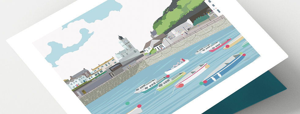 PORTHLEVEN CORNWALL Greeting Card 1 or pack of 4