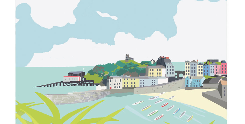 TENBY WALES  Greeting Card 1 or pack of 4