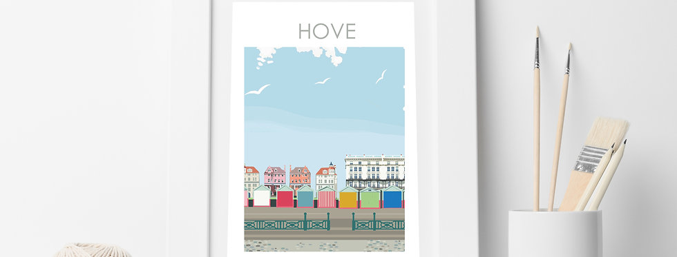 HOVE BEACH HUTS SUSSEX PRINT