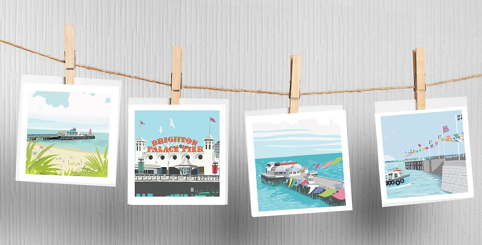 Pier Greeting Cards pack of 4 Bournemouth Pier Brighton Pier Cromer Pier F