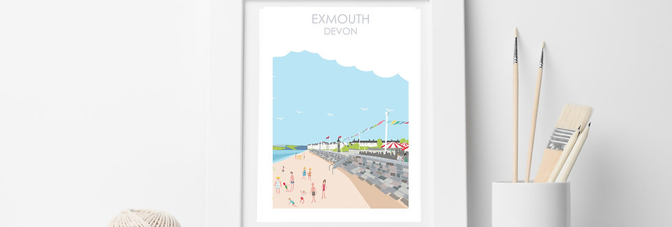 EXMOUTH  BEACH DEVON PRINT