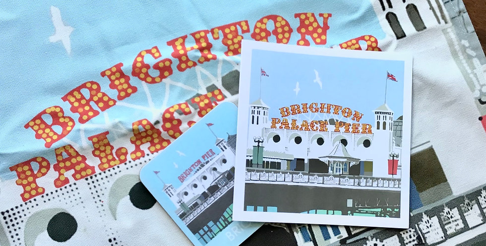 Brighton Palace Pier Coaster, tea towel and card