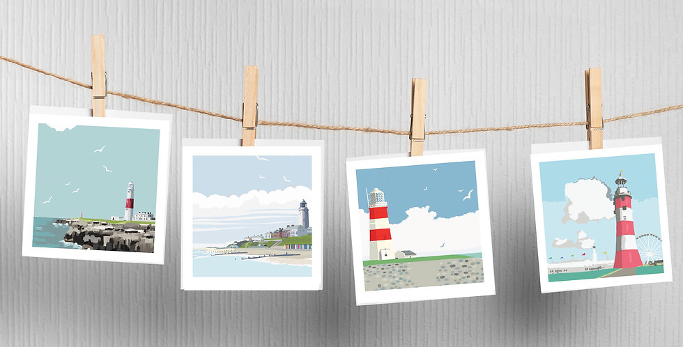 LIGHTHOUSE Greeting Cards pack of 4 Portland Bill Lighthouse . Orfordness Lighth