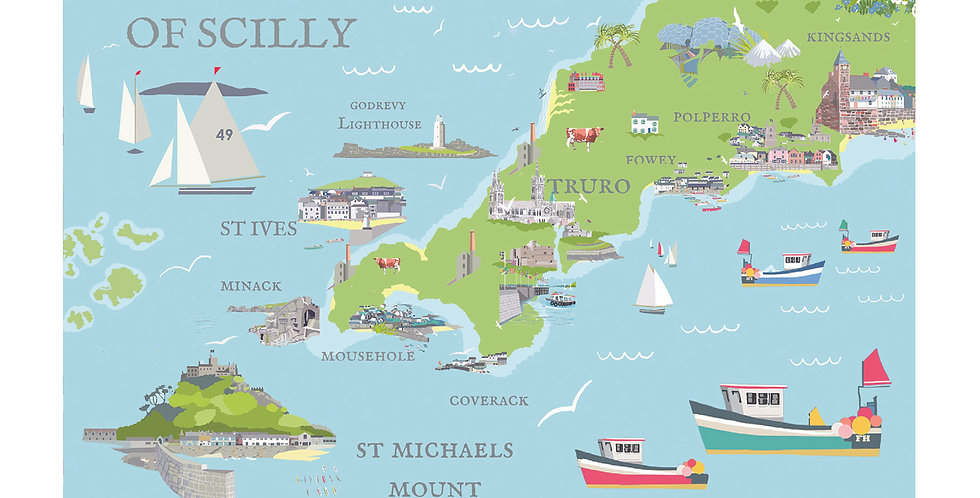 MAP OF CORNWALL CARD