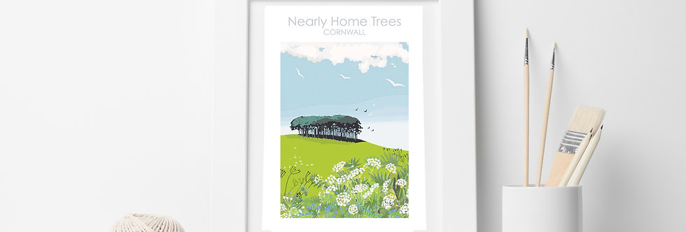 NEARLY HOME TREES DEVON CORNWALL PRINT