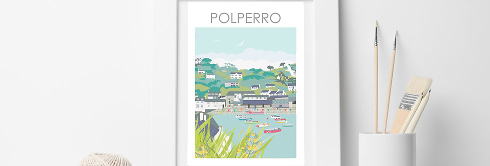 POLPERRO HARBOUR CORNWALL ART  PRINT