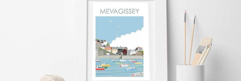 MEVAGISSEY HARBOUR CORNWALL ART  PRINT