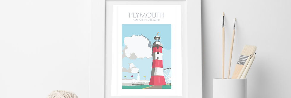 SMEATONS TOWER LIGHTHOUSE PLYMOUTH  DEVON PRINT