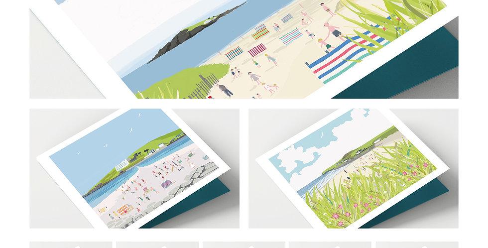 Set Of Eight Devon Coast Cards
