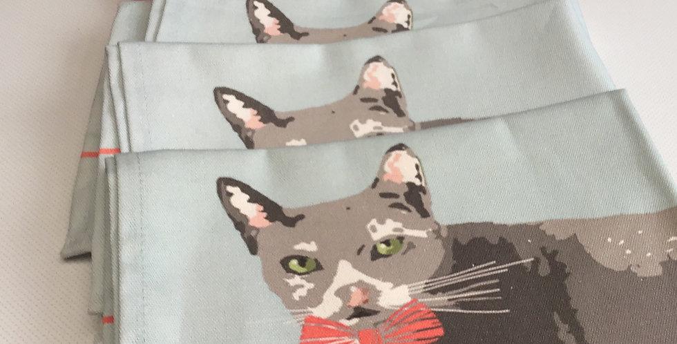 GREY CAT TEA TOWEL