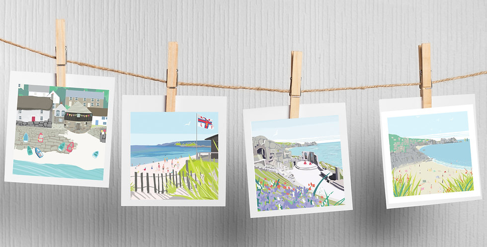 Set of 4 West Cornwall Cards