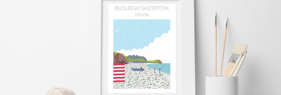 BUDLEIGH SALTERTON BEACH DEVON PRINT