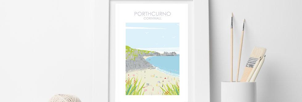 PORTHCURNO  BEACH  PRINT