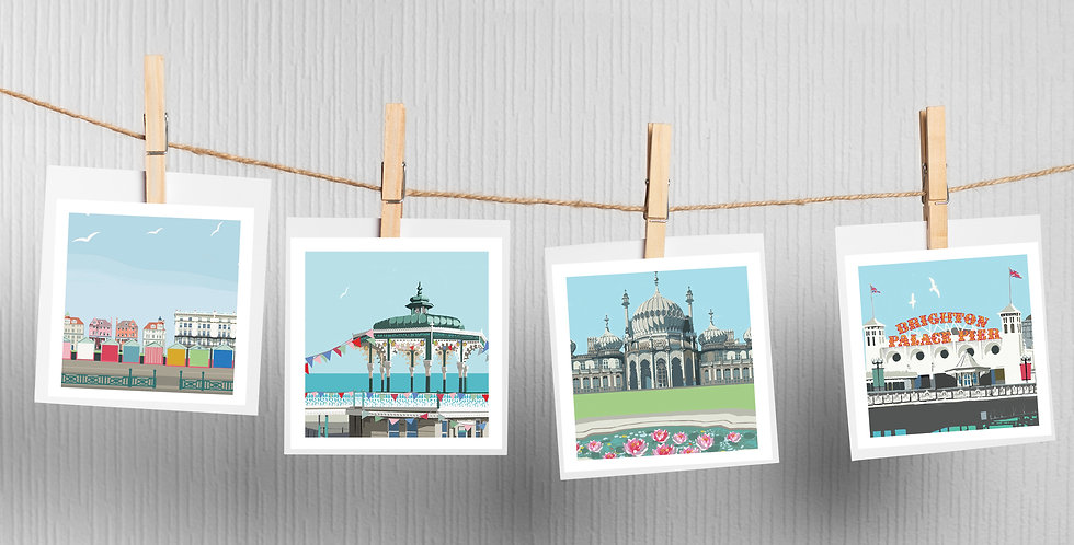 Set of 4 Brighton Coast Cards