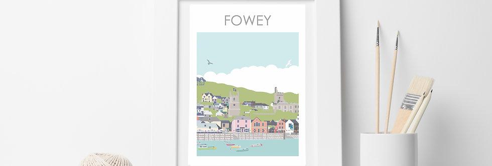 FOWEY TOWN &  HARBOUR CORNWALL ART  PRINT