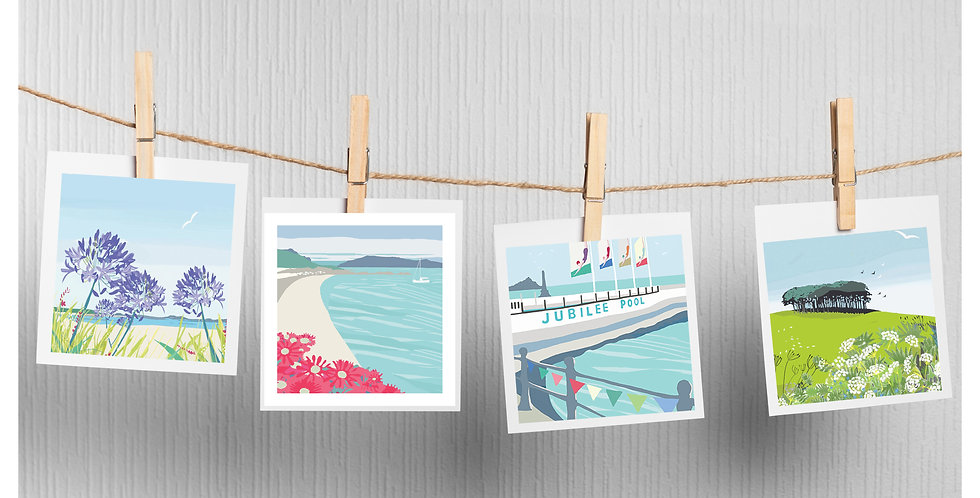 Set of 4 Cornwall and Scilly Isles Cards