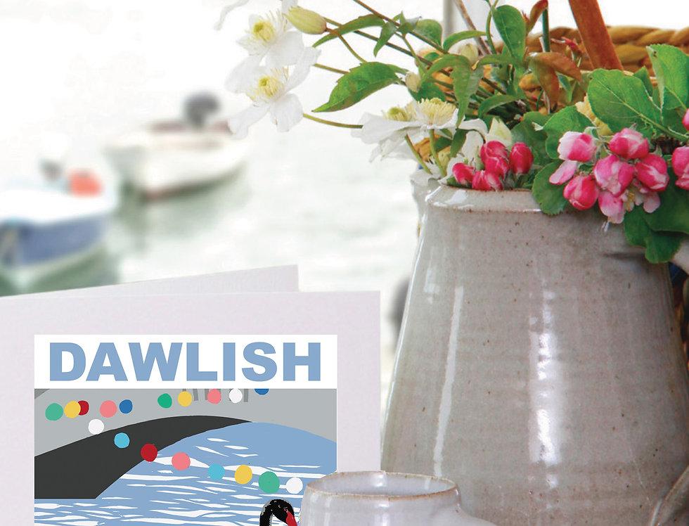 DAWLISH BLACK SWAN DEVON  CARD