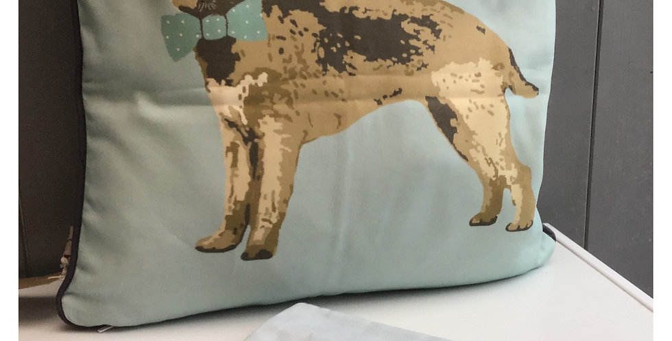 Border Terrier Cushion Made in the UK on a Cotton Panama