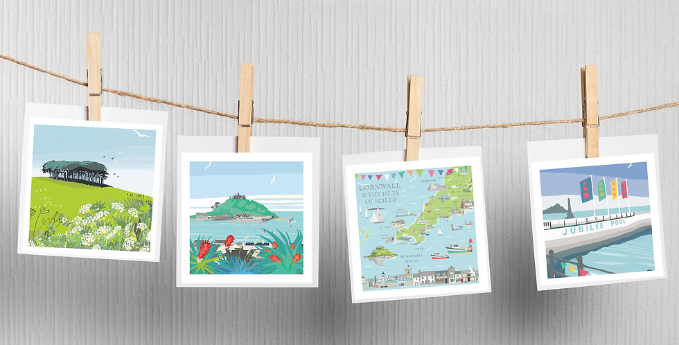 Set of 4 Cornwall & Map Cards