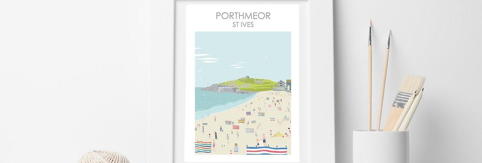 PORTHMEOR BEACH ST IVES CORNWALL ART PRINT