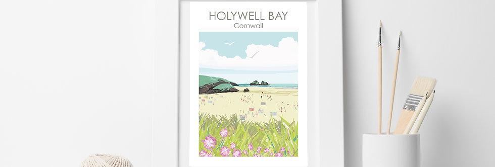 HOLYWELL BAY CORNWALL PRINT