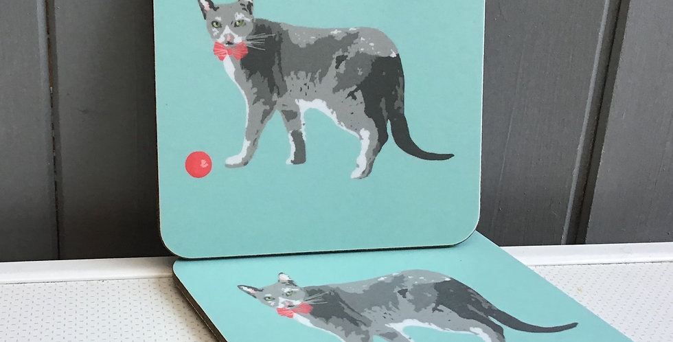 GREY CAT 2  COASTERS