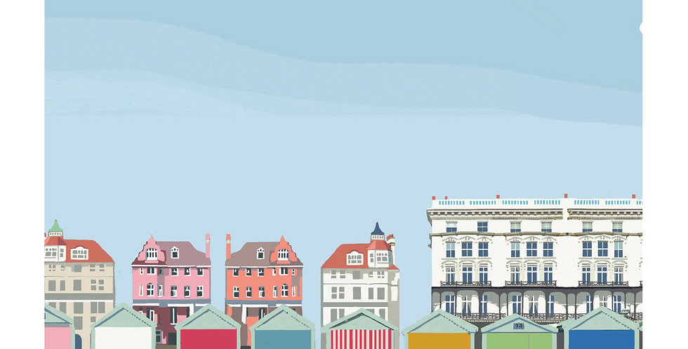 BRIGHTON AND HOVE BEACH HUTS SUSSEX CARD