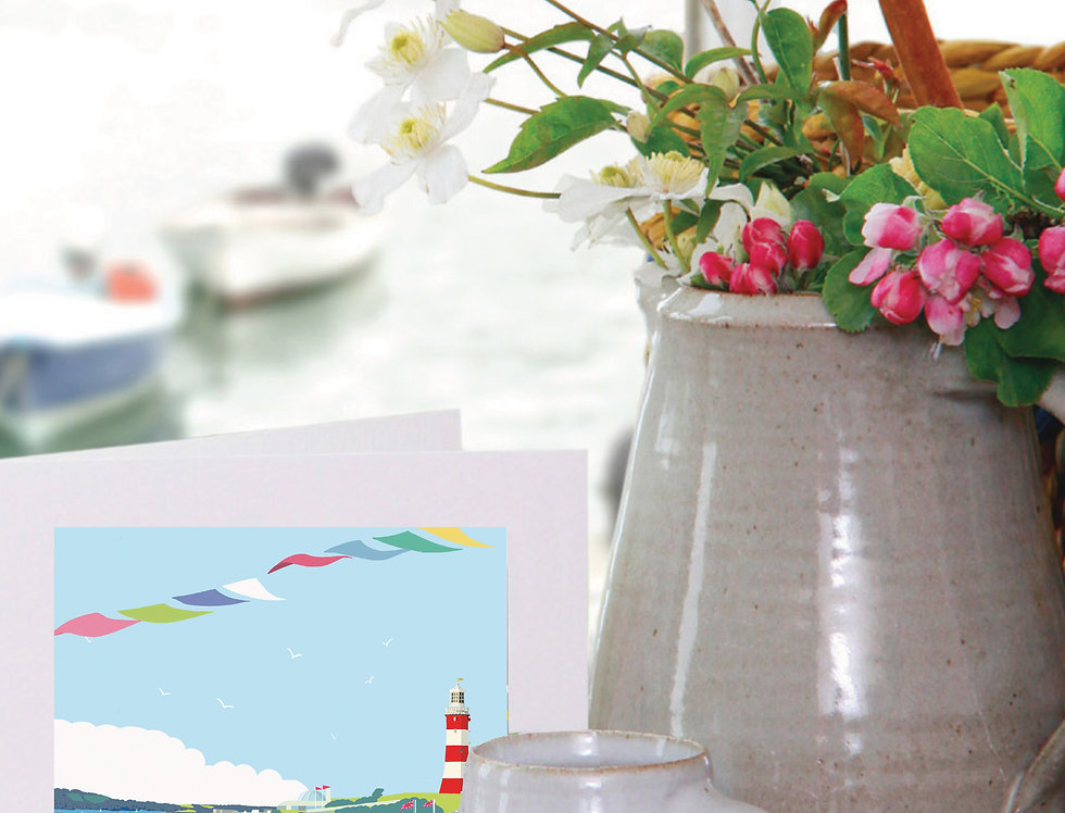 PLYMOUTH HOE LIDO & LIGHTHOUSE DEVON CARD