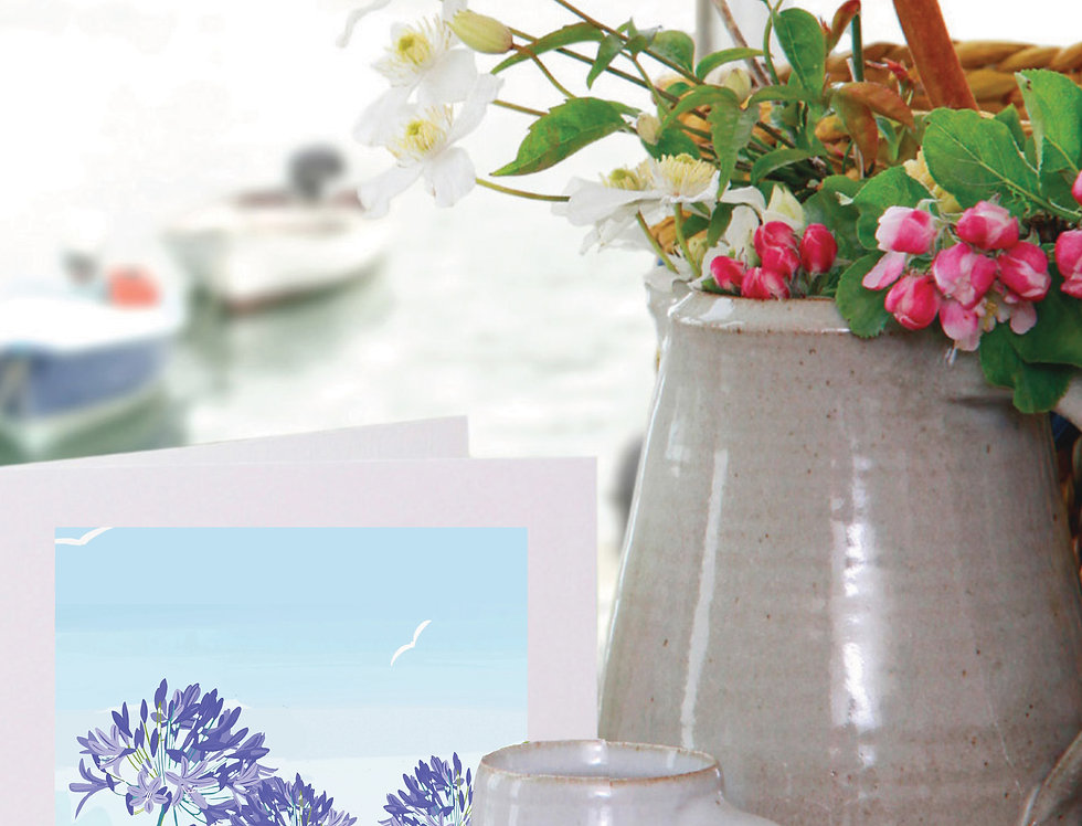 SCILLY ISLES AND AGAPANTHUS CORNWALL CARD
