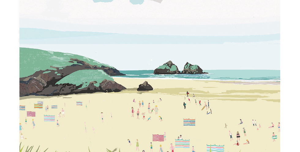 HOLYWELL BAY CORNWALL Greeting Card 1 or pack of 4