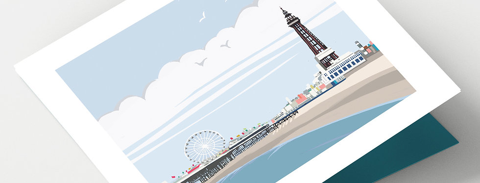 BLACKPOOL TOWER & PIER Greeting Card 1 or pack of 4