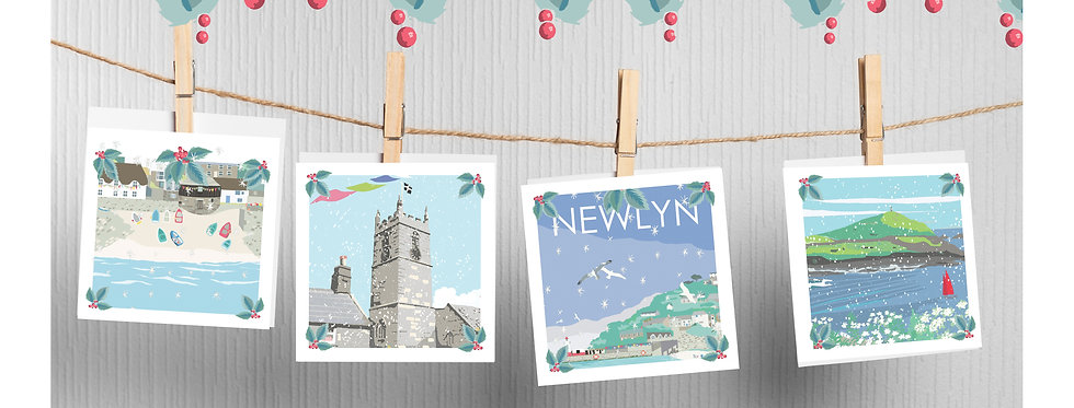 Set of 4 Christmas West Cornwall Cards