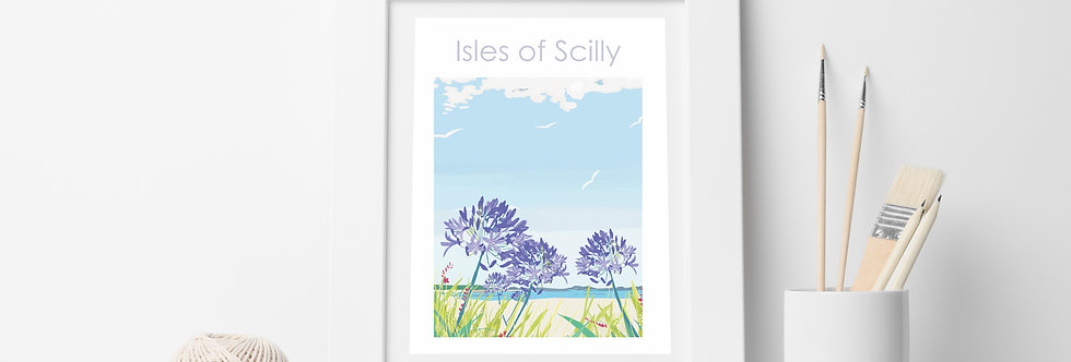 ISLES OF SCILLY AND AGAPANTHUS CORNWALL ART PRINT