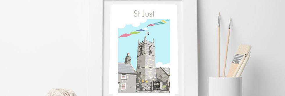 ST JUST CHURCH CORNWALL  PRINT