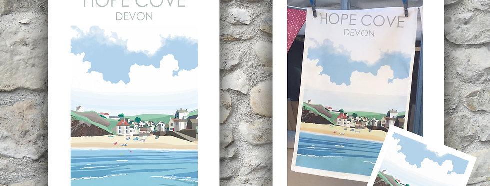 Hope Cove Tea Towel and card