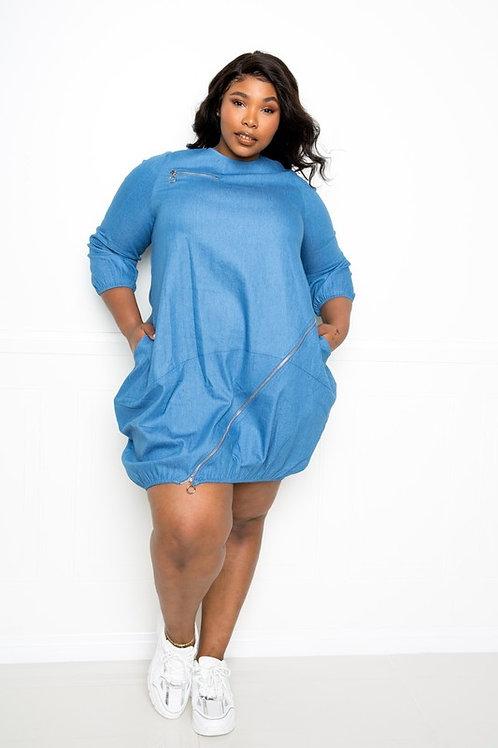 Zipper Bubble Dress Kurvy Sizes