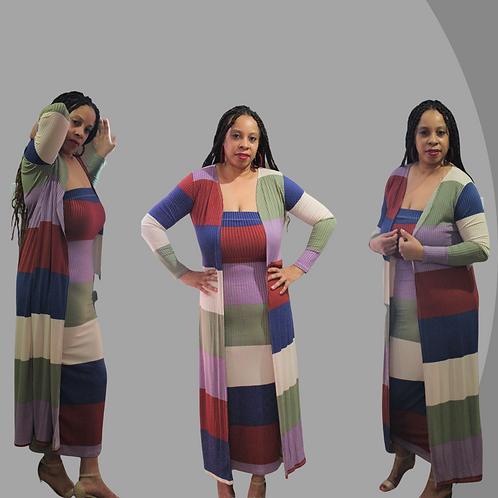 Color Block Cardigan Set