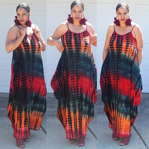 Tri Fire Maxi Dress