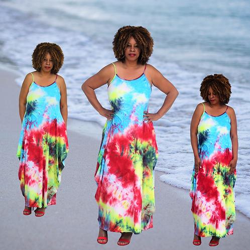 Just Colors Tie Dye Maxi Dress